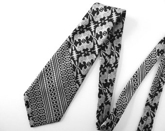 Vintage 1980's Wide Tie - Black and Silver Abstract Tie, Private Label