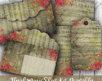 Digital Images - Digital Collage Sheet Download - Floral Music Sheet Envelopes, Tags & Cards - Digital Paper - Instant Download Printables