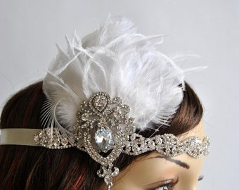 SALE Glamour Rhinestone Flapper 1920s headpiece, Rhinestone Bridal crystal wedding headband, the great gatsby headpiece, rhinestone flapper