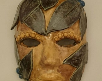 Hand built clay MASK with leaves