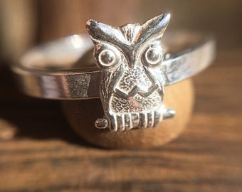 Sterling Silver Owl Stacking Ring