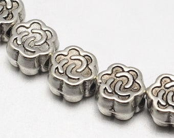 4.5 mm Tibetan Style Flower Spacer Beads , Strand of Approx 45 Beads (1825)