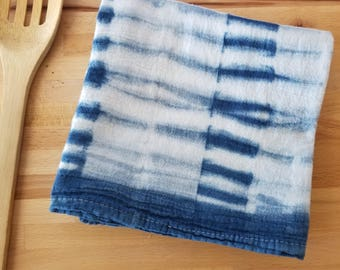 Flour sack towel, Hand dyed, Shibori, Indigo, Flour Sack, Tea Towel, Dish Towel, Kitchen Towel