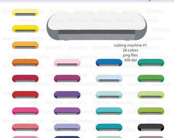 Cutting Machine (Set #1) Icon Digital Clipart in Rainbow Colors - Instant download PNG files