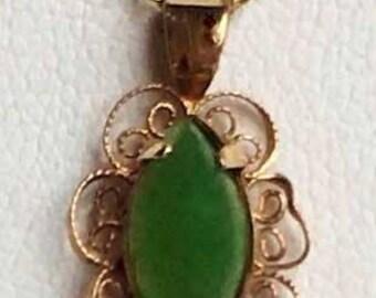Stunning 'Jade' Gold Filled Pendant Necklace