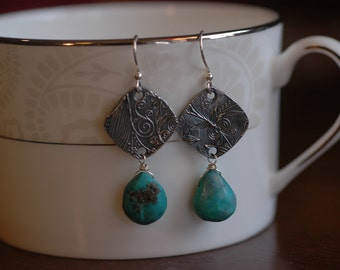 Turquoise Toile on Fine Silver earrings with briolette