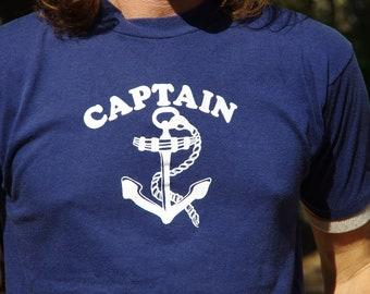 80's CAPTAIN anchor super soft navy t-shirt size large