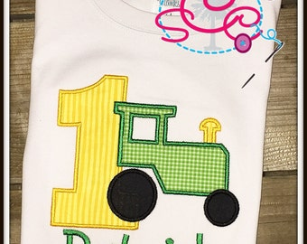 Personalized Tractor Birthday Shirt/Bodysuit