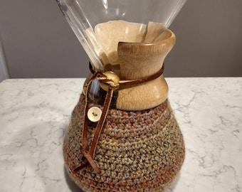 Hand Crafted Chemex Cozy / Cardigan - Fits 6 Cup Chemex - Copper Drift