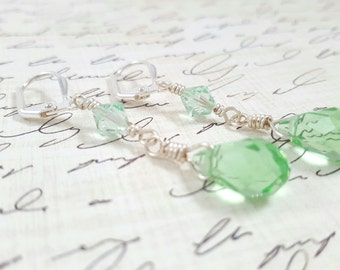 Light Green Crystal Earrings - Glass Crystal Earrings - Light Green Dangle Earrings - Faceted Glass Teardrop Earrings