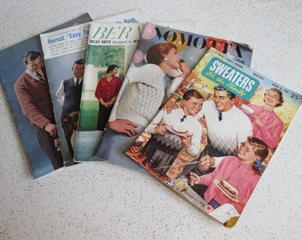 Lot of Five Vintage 50's 60's Knitting Booklets - Knit Patterns