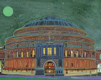 Royal Albert Hall. A limited edition, numbered and signed A4 print from an Original Painting by Richard Friend