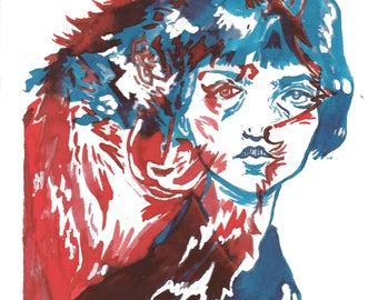 Wolf Girl Orignial art Print a4