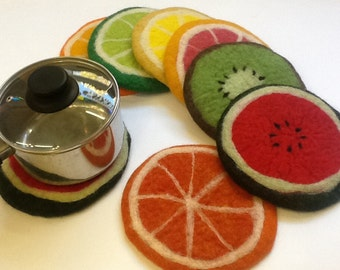 felt pot holder, fruit slices