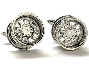 Racing Rims Cufflinks Car Cuff Links Automobile Auto Cufflinks Cool Fun Highly Detailed Design Tire Cuff Links Mechanic Car Lover