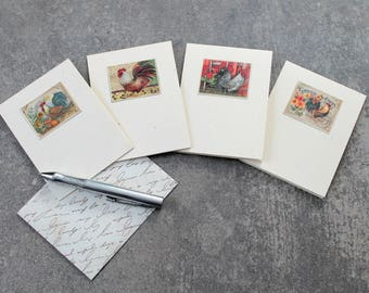 Mini Note Card Set, Lunchbox Notes, Gift Enclosures, Gift Card Holders, Love Notes, Handmade, Recycled Calendar Pictures, Set Of 4, Roosters