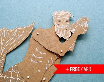 Articulated paper doll Merman handmade greeting card girlfriend gift birthday present mermaid boyfriend gift marionette sea life hipster