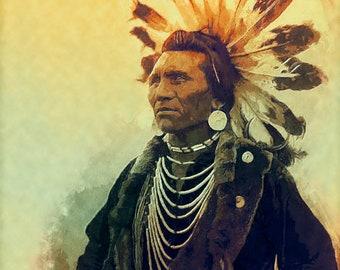 Fine Art Print  of 'Chief Eagle'. Flathead, Native American Indian. American West, eagle feathers, wall decor, JoWalshArt