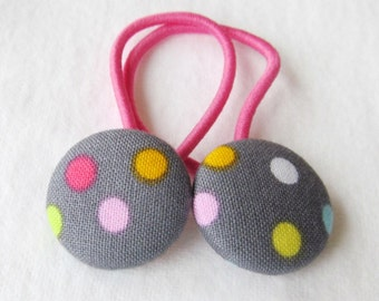 Pixie Dots - Ponytail holders - fabric covered button hair ties
