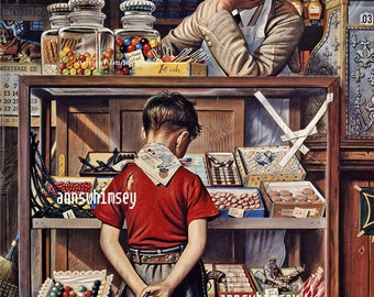 Boy's Room Art, Kitchen Art, Penny Candy, Little Boy's Room Print, Gift for Grocer  #287