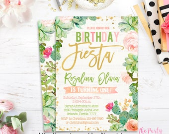 Fiesta Birthday Invitation, Succulent Invitations, Cactus Watercolor Mexican Floral Invite, Cinco de Mayo Girl invitation Printable