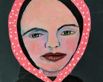 Art on Sale. Original Acrylic Woman Portrait Painting. Mixed Media Collage Art. Gift for Girlfriend. Pink Polka Dots Bandana