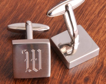 Personalized Cufflinks - Monogrammed Classic silver cufflinks -  Gifts for him - Groomsman Gifts - Father's Day Gifts