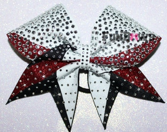 Gorgeous allstar Rhinestone  and glitter Cheer  bow by FunBows - WOW - Customize this !