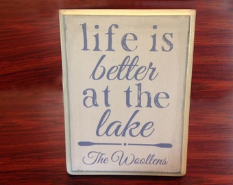 Vintage Wood Custom 'Life is Better at the Lake' Sign