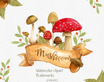 watercolor mushroom clipart, Watercolor forest clipart, woodland clipar, Wild Mushrooms, autumn clipart, watercolor autumn, fall, accorns