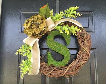 Moss monogram wreath with sage hydrangea. summer wreath,wreath for door,personalized wreath.