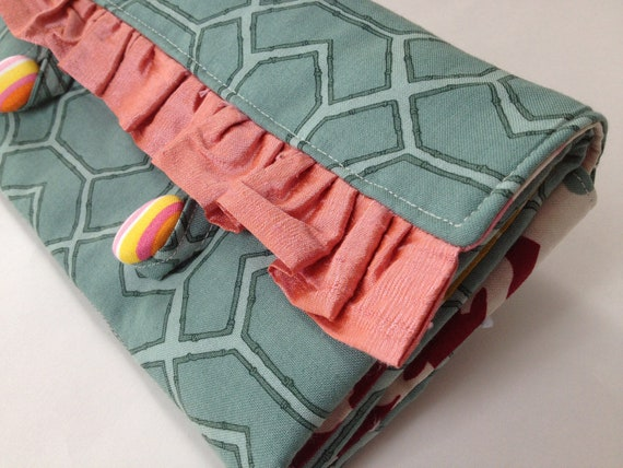 Necklace Travel Case in green gray orange and pink cotton