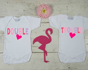 Double trouble onesies for Twins, Bodysuit Baby Shower Gift, Onesies for Twins, Twins Gifts, Boy/Girl Clothing for Twins, Twin Baby Shower
