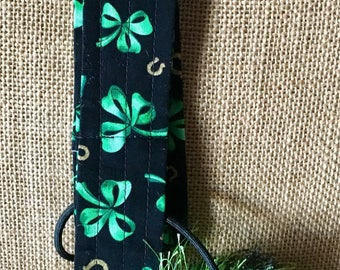 Ukulele strap and neck lei green Hawaiian print and assorted colors flames, space veggies, good luck ( St. Patrick's Day )green shown sold.