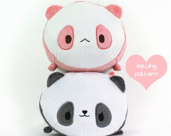 "PDF sewing pattern - Panda Bear Roll plush - stacking loaf plushie - easy kawaii cute anime stuffed animal DIY softie plush toy 12"""