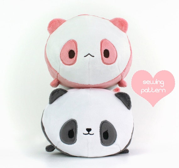 PDF sewing pattern - Panda Bear Roll plush - stacking loaf plushie ...