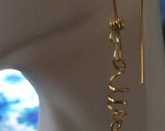 14k Gold Layered Copper swirly earrings with Green Aventurine bead