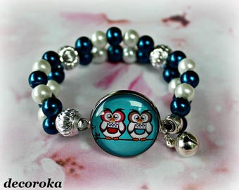 Elastic bracelet for children with OWL cabochon