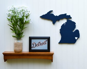 """Detroit Tigers """"State Heart"""" wall art, handcrafted wood featuring official team colors"""