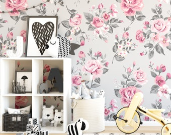 Vintage Grey and Pink Rose Floral Wallpaper