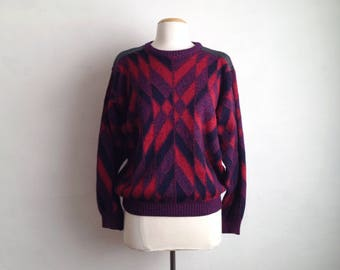 vintage 80s sweater graphic sweater crewneck sweater wool abstract sweater pullover