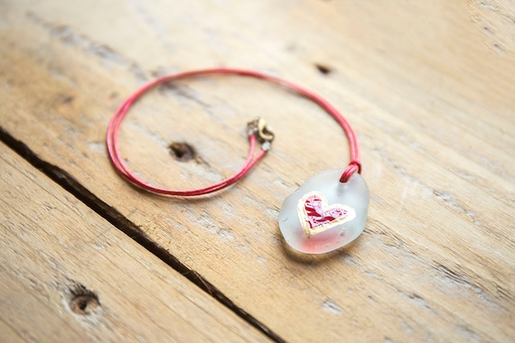 """Seaglass Beach Glass Enamelled Heart Pendant - """"Love"""" - Gilded, on waxed cotton cord. Reuse, Upcycle, Relove."""