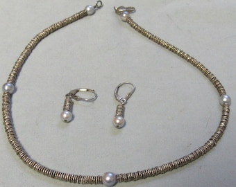 Sterling Silver heishi disc Bead station pearl Necklace Matching Earrings