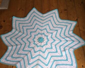 Crochet star  baby blanket in blue and white 10 point star shape.  pram/stroller/buggy/play mat