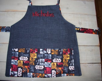 Custom Embroidered Apron Star Wars Apron Space Apron and chef Hat for Boys Personalized apron Custom Apron Made to order apron