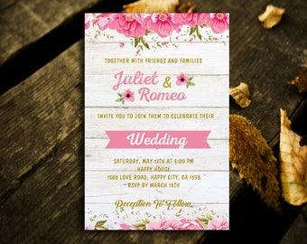 Floral Wedding Invitation,Wedding Invitation,Wedding Floral Invitation,Floral Invitation,Floral,Wedding Pink Floral,Pink Floral,Floral Pink