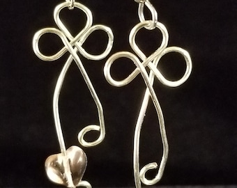 Wire work Silver tone Cross with Pink Heart