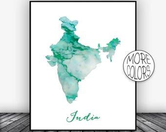 India Print India Art Print Watercolor Map India Map Decor Wall Art Prints Marble Wall Art  ArtPrintsZoe