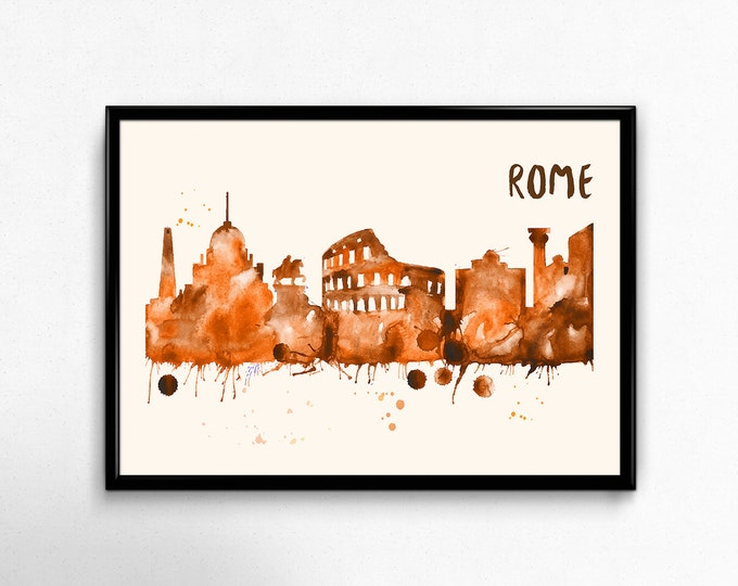 Rome Skyline Watercolor Poster - Cityscape Painting Artwork - Art Print, Multiple Sizes - 10x8 to 36x24 - Watercolor Painting Style