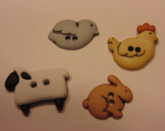 4 barn animals, buttons, 20-24 mm (18)